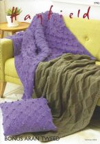 Hayfield Bonus Aran Tweed - 7792 Blankets & Cushion Cover Knitting Pattern